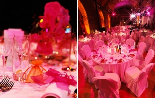 pink tables settings