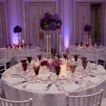 table setting purple gold flowers