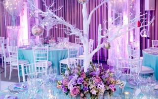winter wonderland bar mitzvah purple blue