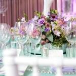 flower centrepieces purple and green