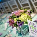 purple green centrepiece