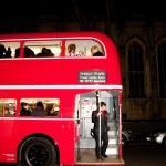 Unique Winter Wonderland entrance red london bus