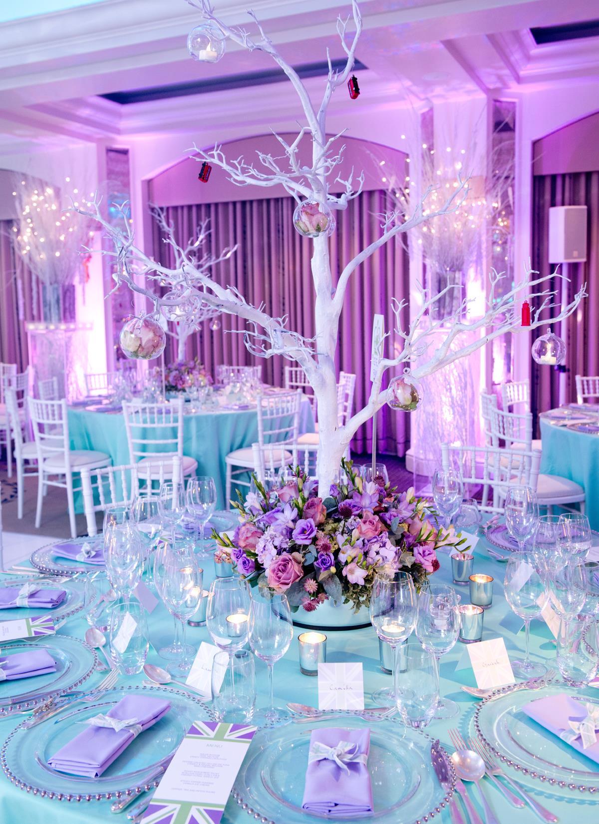 Bar Mitzvah Planning Wonderland snow branches blue purple