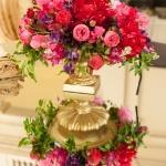 pink flower arrangement reflected