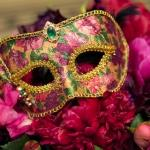 upholstered mask pink flowers