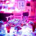 blue and red table 14 centrepieces