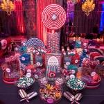 candy display blue and red