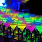 fluorescent cocktails martini glasses