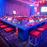 blue and red bar chairs