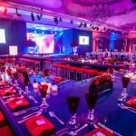 blue and red bar/booth tables