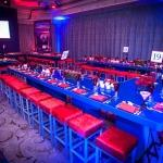 blue and red bar tables