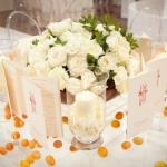white roses centrepieces physalis