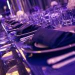 tressle table blue white