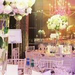 purple and green tables
