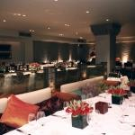 white long tables orange accent