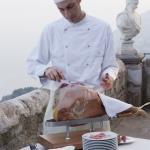 carved serrano ham chef