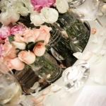 closeup table flowers vases