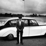 black and white wedding car