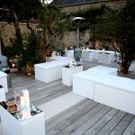 white outdoor seating