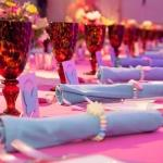 blue napkins settings mitzvah