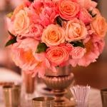 coral pink orange rose bouquet