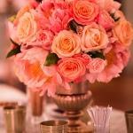 coral pink orange rose bouquet