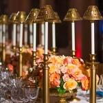 lamps and rose centrepieces
