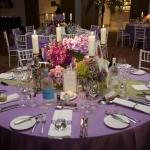 purple round table settings