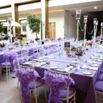 purple table settings