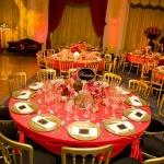 gold and red table settings