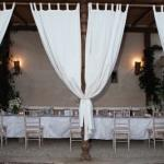 tables outdoor white drapes