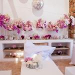 orchid arrangement white seating