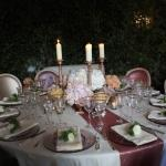 table setting candles and roses
