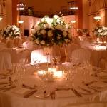 tables white and centrepieces