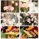 collage flowers and fruit