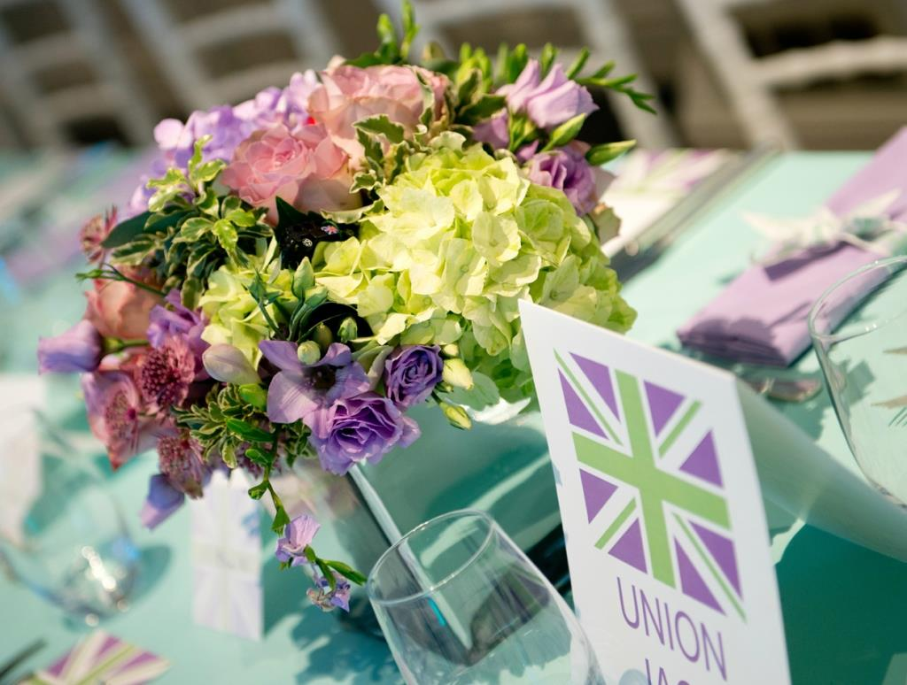 union jack purple and green theme