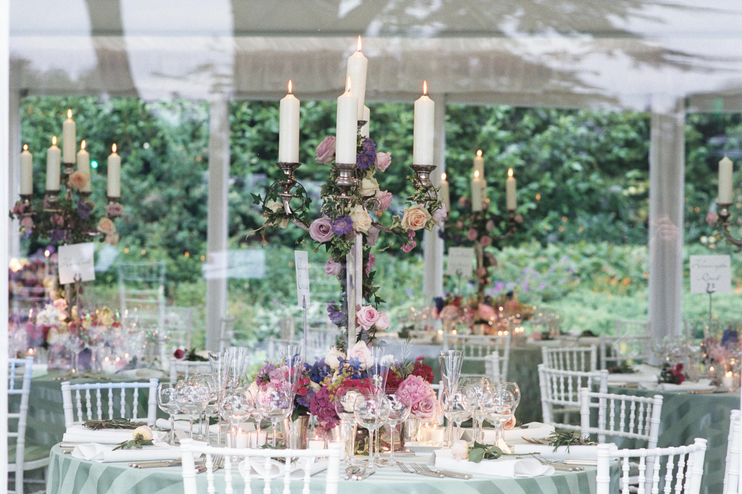 Party Planning candles and roses centrepieces