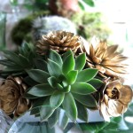tropical succulents, green and gold