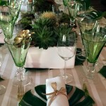 length table glasses tropical party