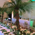 London Party Planner tropical palm tree table view