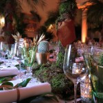 London Party Planner moss centrepiece tropical palm tree